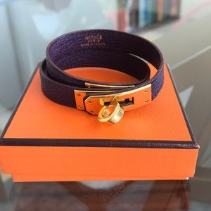 Hermes Chèvre Raisin Kelly Double Tour Bracelet